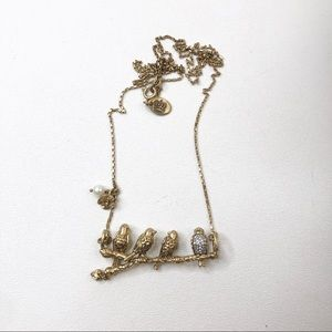 Juicy Couture Gold Tone Necklace Birds On A Branch